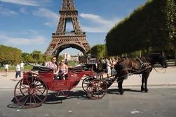 Caballo romántico y paseo del carro a través de París