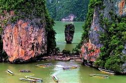 Canoa increíble en la isla de James Bond de Phuket en lancha rápida